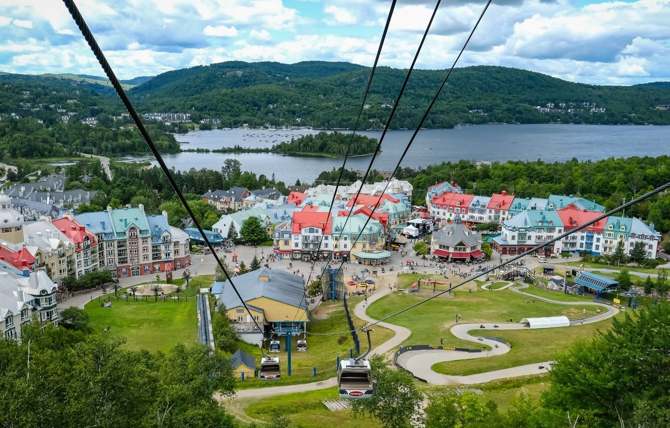 Aerial shot of the billage at the base of Mont Tremblant