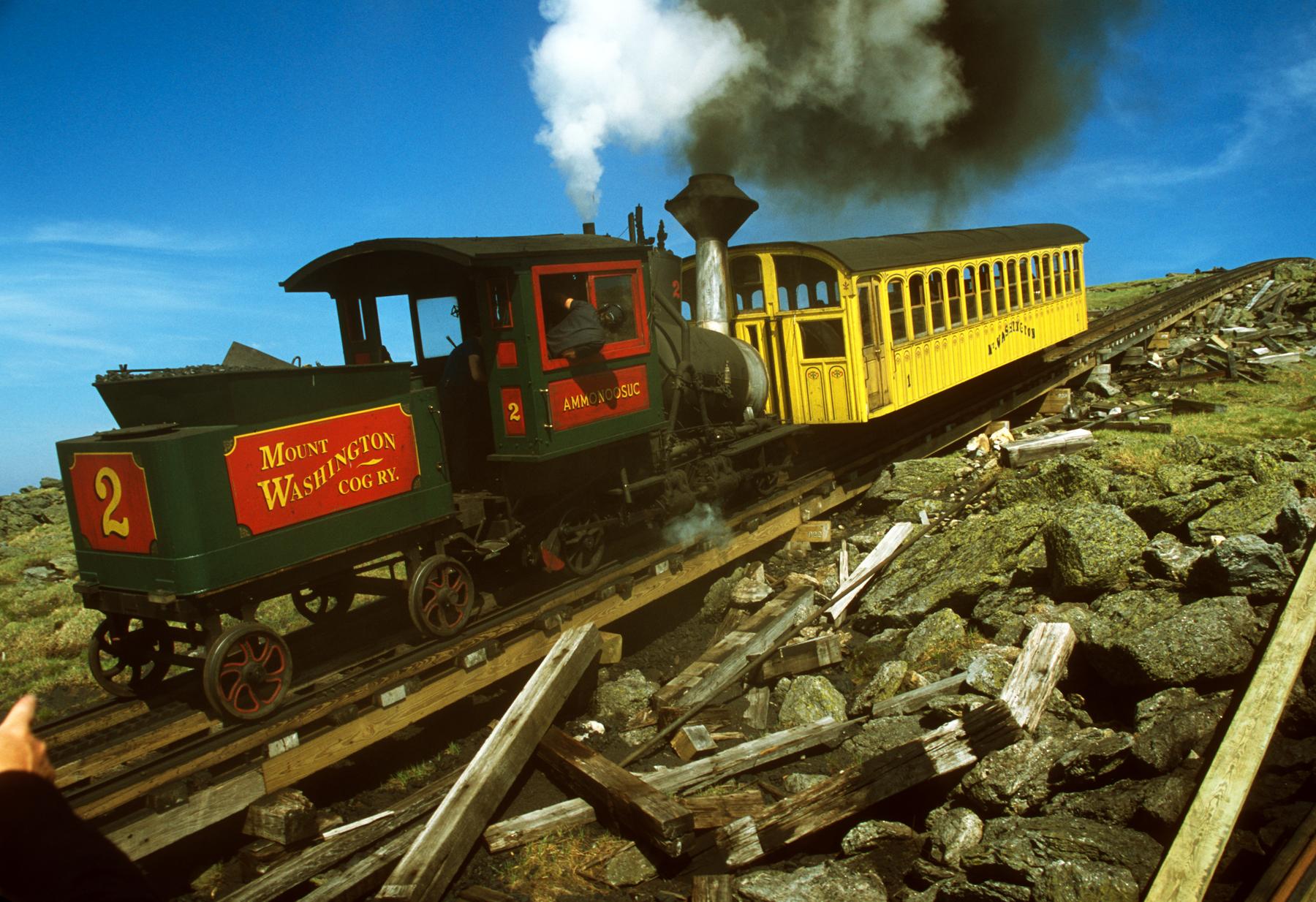 Mount Washington Cog Railroad descending from the summit.