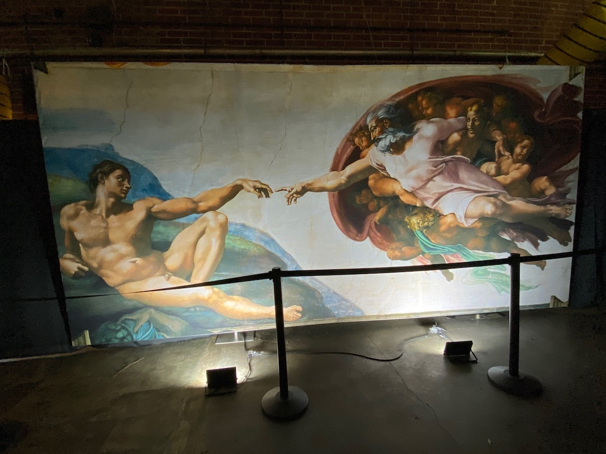 The Creation of Adam welcomes visitors to Michelangelo's Sistine Chapel: The Exhibition