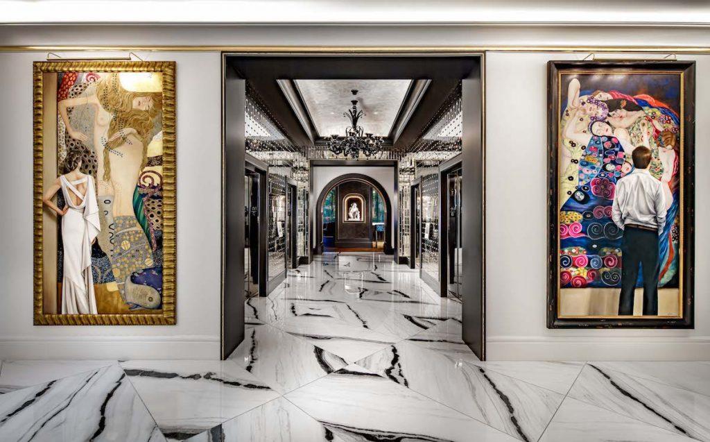 Dramatic lobby paintings at Grand Bohemian Hotel Charlotte