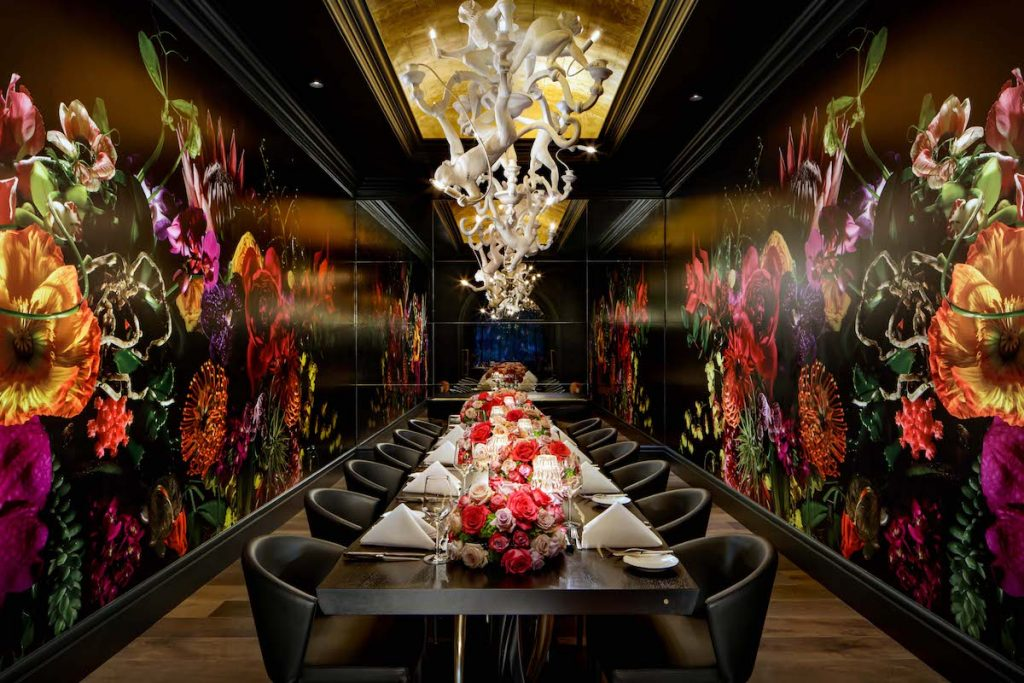 Monkey chandelier in the private dining room