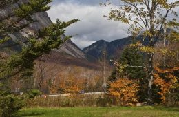 The fall colors of Franconia Notch in the White Mountains of New Hampshire